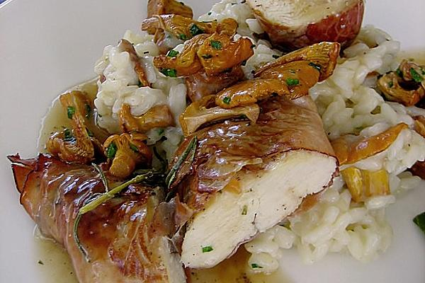 Chicken Breast Fillet Baked in Black Forest Ham on Chanterelle Risotto