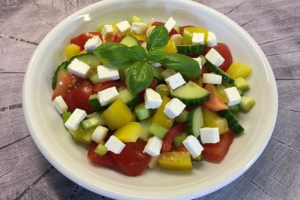 Colorful Salad with Sheep Cheese