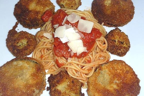 Angis Zucchini Eggplant Piccata with Tomato Spaghetti