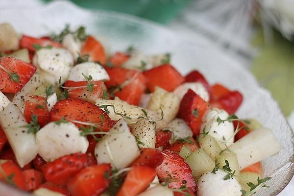 Asparagus Salad with Mozzarella and Strawberries
