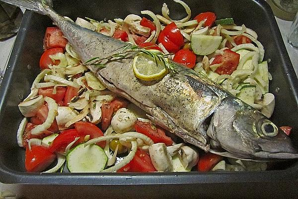 Baked Mackerel with Oven-baked Vegetables