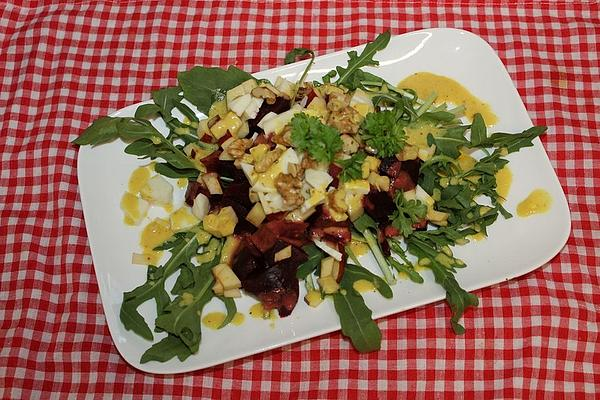 Beetroot, Apple and Walnut Salad with Feta Cheese and Lamb`s Lettuce