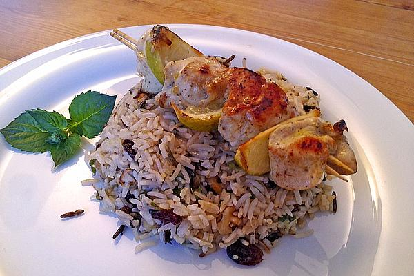 Chicken Skewers with Lime on Cranberry-mint Rice