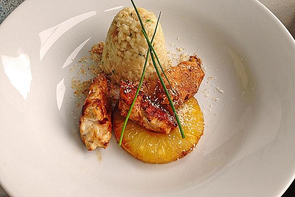 Coconut Risotto with Chicken Fillet and Fried Pineapple