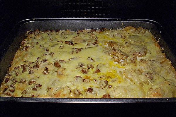Fillet Gratin with Mushrooms and Potato Slices