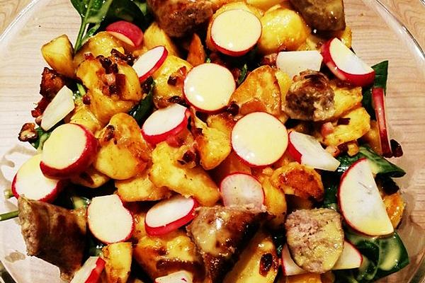 Fried Potato Salad with Fried Sausages