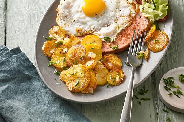Leberkäse with Fried Potatoes and Fried Egg