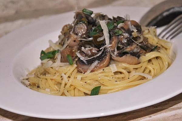 Mushrooms on Spaghetti