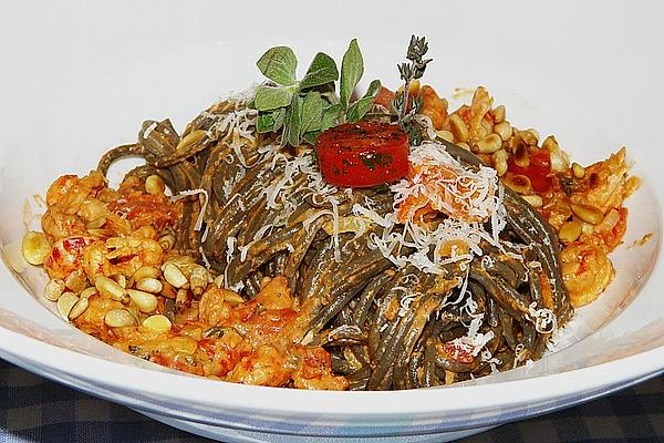 Spaghetti Nero in Tomato – Gorgonzola – Sauce with Prawns
