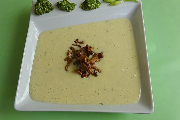 White Potato Soup with Wild Garlic Pesto and Fried Chanterelles