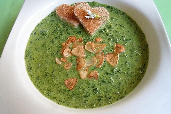 Wild Garlic Soup with Garlic Chips