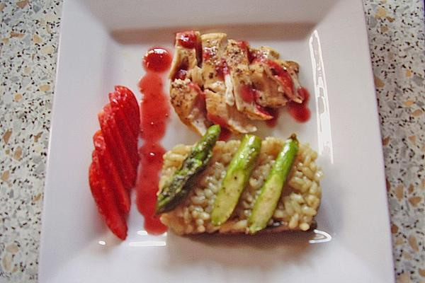Chicken Breast, Green Asparagus and Strawberry Ragout with Pumpkin Seed Risotto