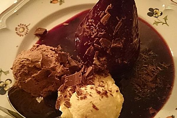 Chocolate Mousse with Elderberry Pears