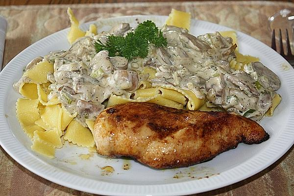 Pasta with Mushroom Sauce and Fried Chicken Breast