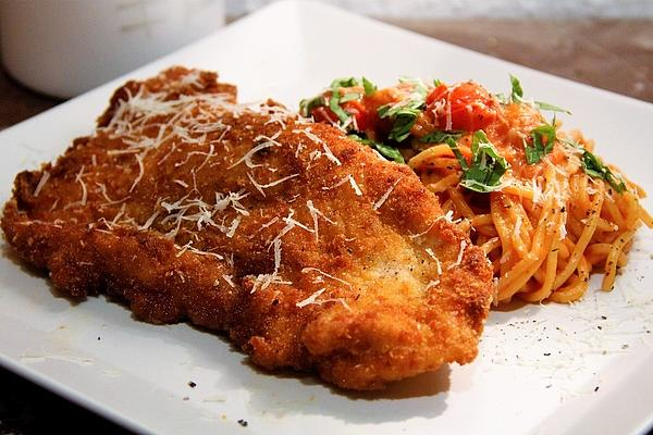Piccata Milanese from Turkey with Homemade Tomato Spaghetti
