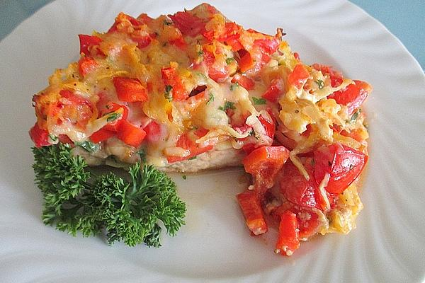 Pork Salmon Under Potato, Bell Pepper, Tomato and Cheese Topping