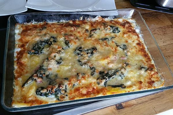 Potato Gratin with Spinach and Bacon