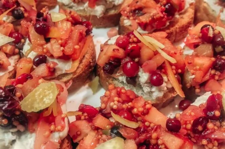 Bruschetta with White Fish Paste and Apple-Cranberry Chutney