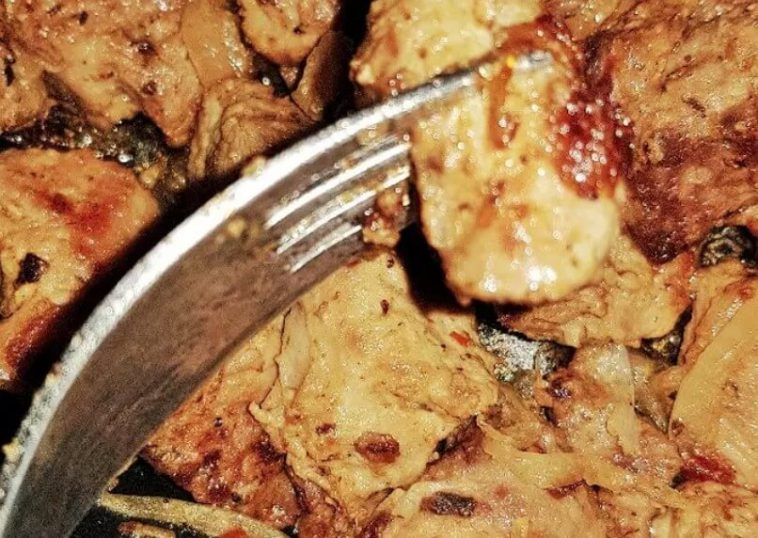Fried Pork with Onions in Mustard and Spices